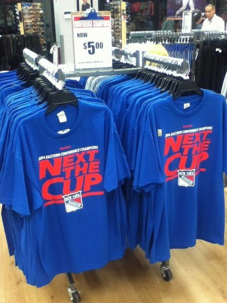 New York Rangers 'Next the Cup' t-shirts collecting dust on clearance racks