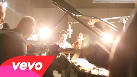 Ariana Grande and The Wanted's Nathan Sykes hit the studio in 'Almost' video