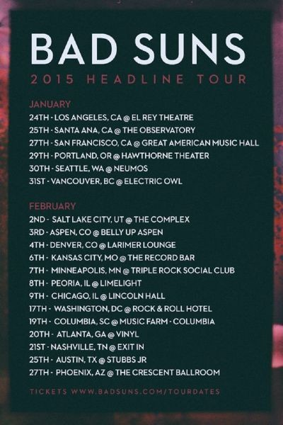 Bad Suns kick off 2015 tour in January