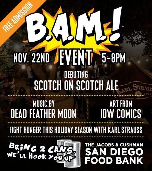 Karl Strauss free Beer, Art and Music even benefits San Diego Food Bank, Nov. 22