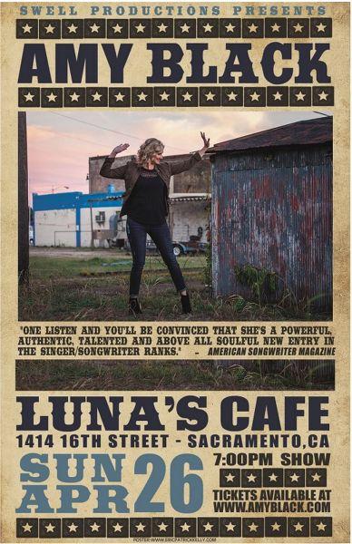 Amy Black coming to Sacramento's Luna's Cafe April 26