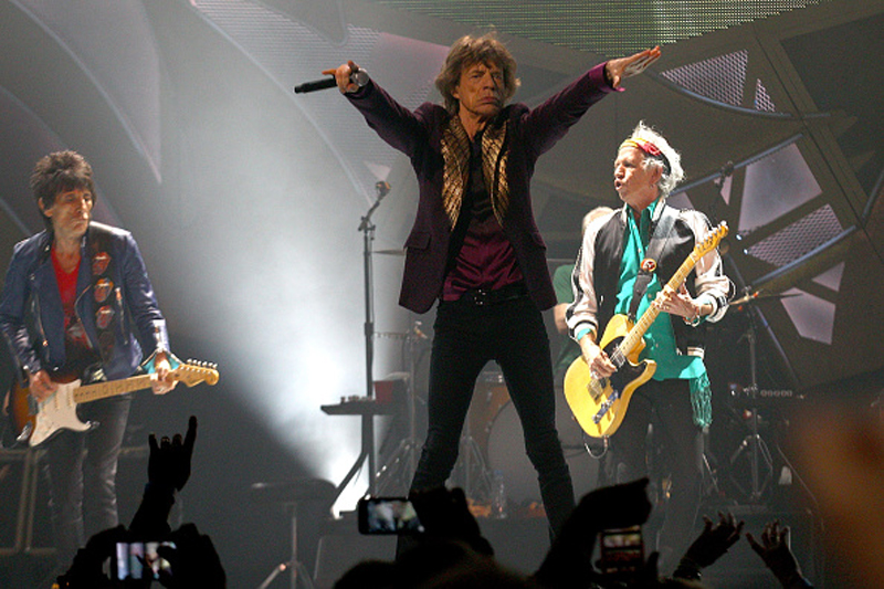 Ronnie Wood, Mick Jagger and Keith Richards at the Rolling Stones' concert in Perth, Australia, on October 29, 2014