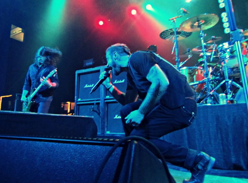 Saint Asonia vocalist Adam Gontier and guitarist Mike Mushok rock the Aztec Theatre during their group's San Antonio live debut Oct. 17