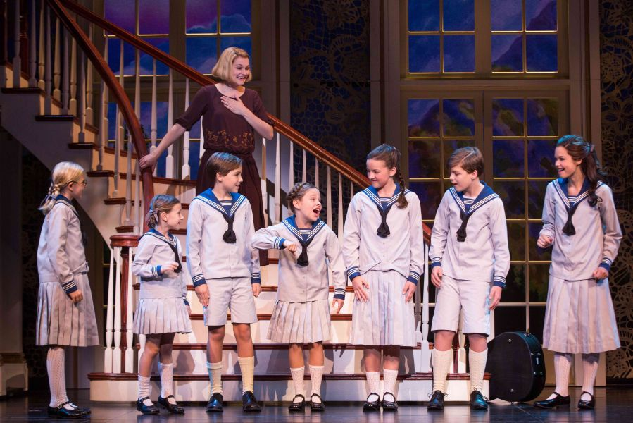"""The National Tour of THE SOUND OF MUSIC, """"Do Re Mi""""  Kerstin Anderson as 'Maria Rainer' and the von Trapp children"""
