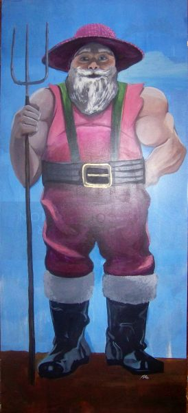 The six foot Santa is buff and ready to meet the needs of Farm life.