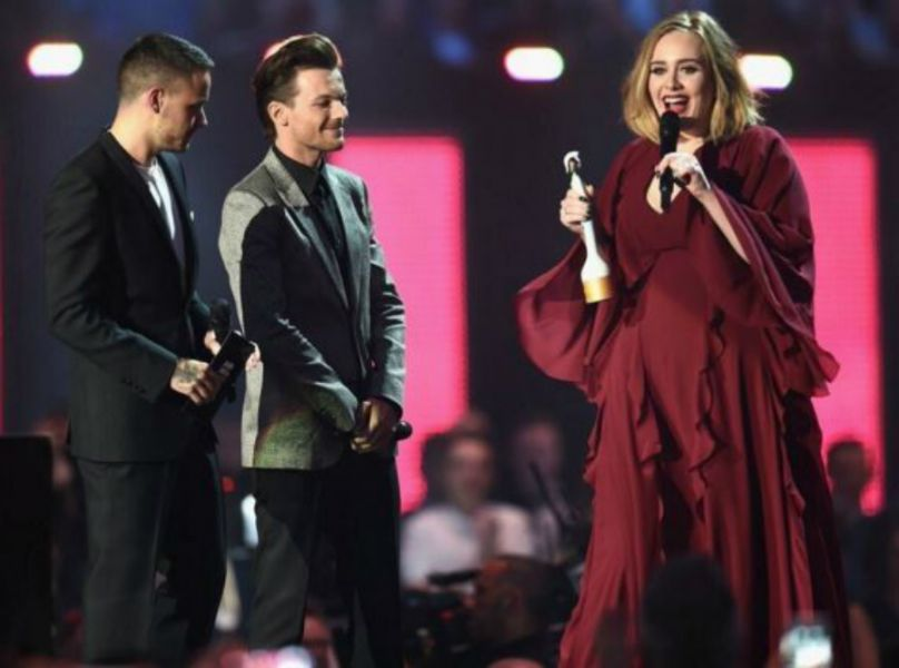 Adele and One Direction at 2016 Brit Awards