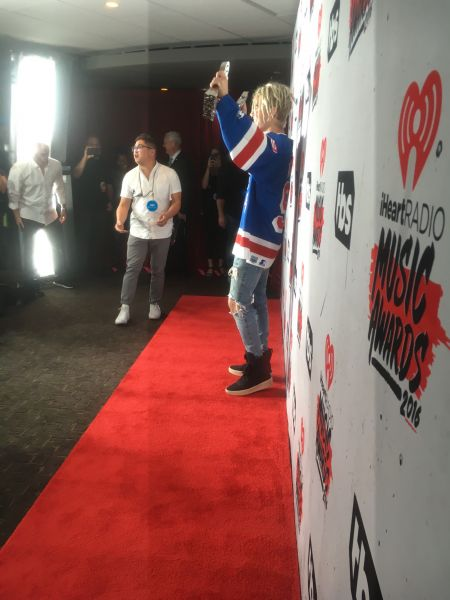 Justin Bieber backstage at the 2016 iHeartRadio Awards.