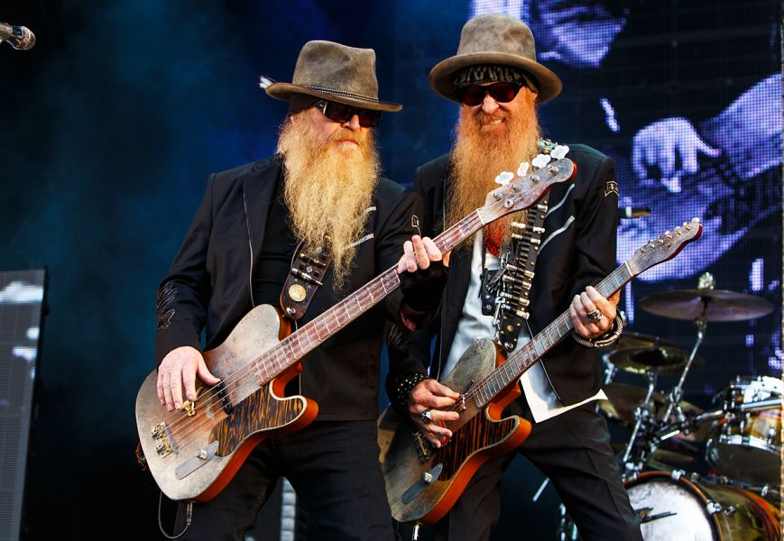 ZZ Top bassist Dusty Hill and guitarist Billy Gibbons. The band has cancelled 2016 tour dates due to a shoulder injury suffered by Hill.