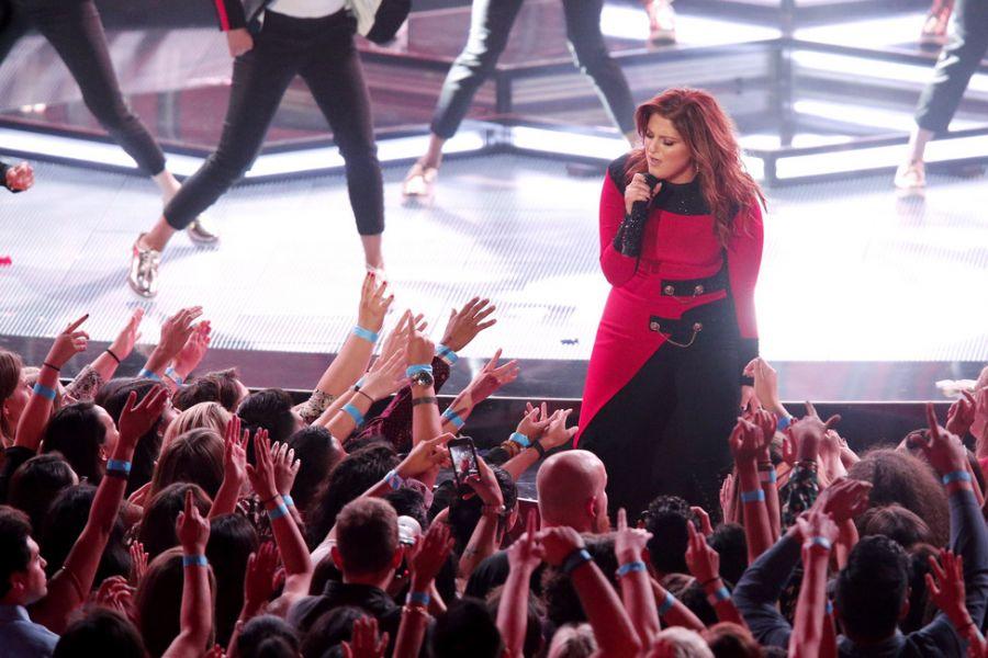 Meghan Trainor performing at iHeartRadio Music Awards 2016
