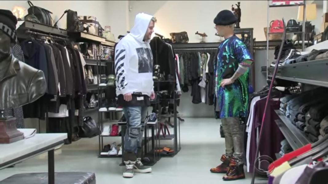 James Corden and Bieber play dress up