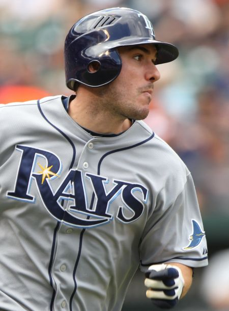 Shown here as an All-Star player in 2011 with the Tampa Bay Rays, Matt Joyce will be roaming right field for the Oakland Athletics in 2017.