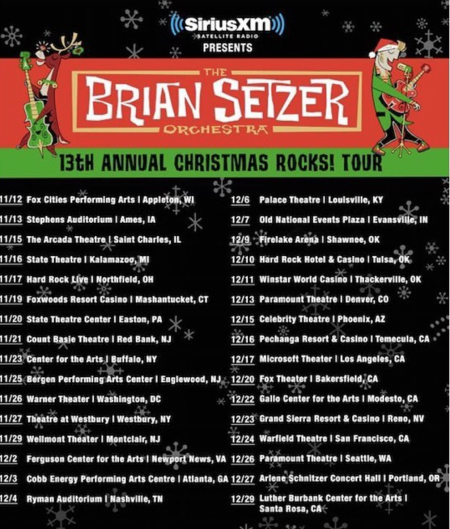 Brian Setzer's 13th annual Christmas Rocks Tour will visit the Microsoft Theater in Los Angeles on Dec. 17.