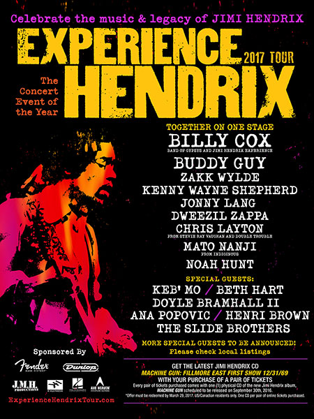 The Experience Hendrix tour kicks off Feb. 17 in Portland, OR.