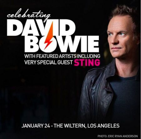 "Sting onboard with ""Celebrating David Bowie"" in Los Angeles."