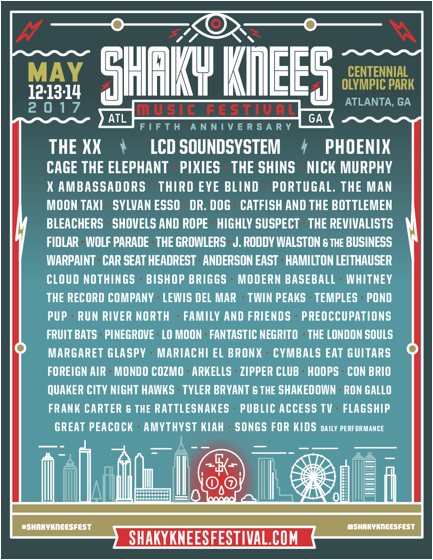 Shaky Knees announces 2017 lineup featuring The XX & LCD Soundsystem