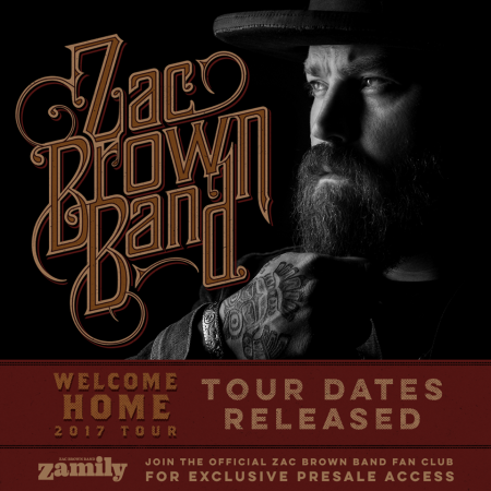 Zac Brown Band will be returning to Coors Field July 29