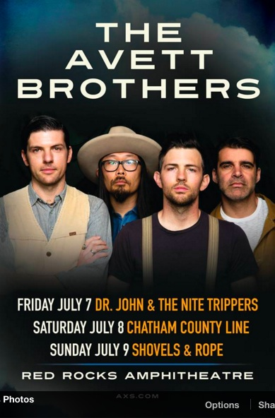 The Avett Brothers are coming to Red Rocks July 7-9