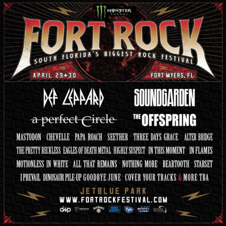 The 2017 Fort Rock fest will rock South Florida over the weekend of April 29-30 at Jetblue Park in Fort Myers.