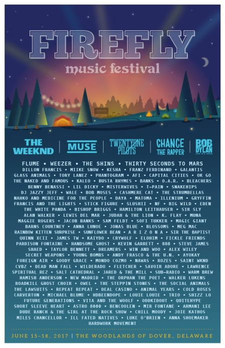 The Weeknd, Muse, Chance The Rapper, Twenty One Pilots, and Bob Dylan will all be making appearances at Firefly Music Festival this June.