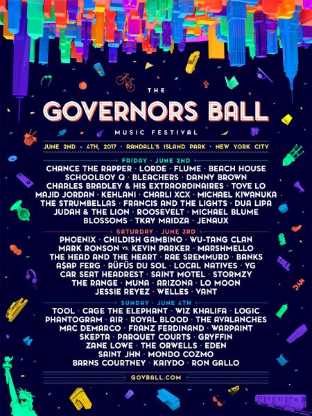 Daily lineup announced for Governors Ball 2017