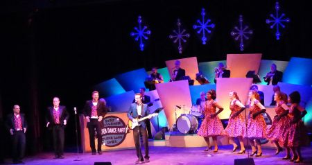 """Matt McClure as Buddy Holly and the ensemble cast of Tacoma Musical Playhouse's """"Buddy: The Buddy Holly Story."""""""