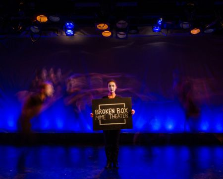 Becky Baumwoll in a scene from Broken Box Mime Theater's production of SEE REVERSE at A.R.T/NY's Jeffery and Paula Gural Theater February 17