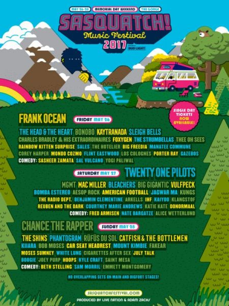 Daily lineup revealed for 2017 Sasquatch! Music Festival