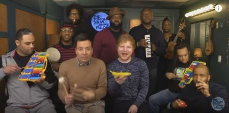 """Ed Sheeran, Jimmy Fallon and The Roots do """"Shape of You"""" with classroom instruments."""