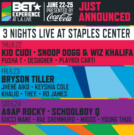 BET Experience 2017 lineup includes A$AP Rocky, Migos, Snoop Dogg, Wiz Khalifa and more