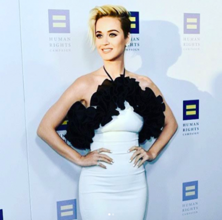 Katy Perry poses at the Human Rights Campaign Gala in Los Angeles on Saturday.