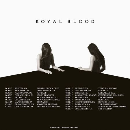 British rock duo Royal Blood revealed their 2017 North American summer tour dates on Tuesday.