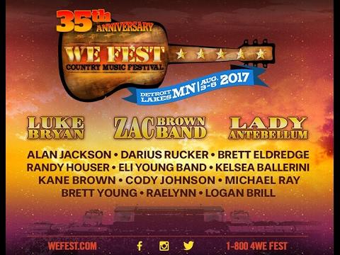 WE Fest headliners to include Lady Antebellum, Zac Brown Band & Luke Bryan