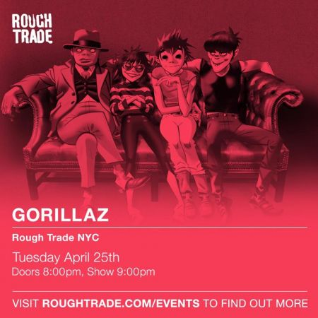 Gorillaz will celebrate the release of their new album with a show at Rough Trade in Brooklyn next Tuesday.