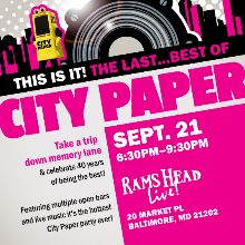 City Paper's Best of Baltimore 2017 tickets at Rams Head Live! in Baltimore