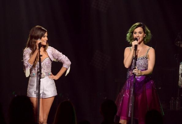 Katy Perry And Kacey Musgraves at Sony Pictures Studios on April 18, 2014 in Culver City, California. CMT Crossroads: Katy Perry and Kacey M