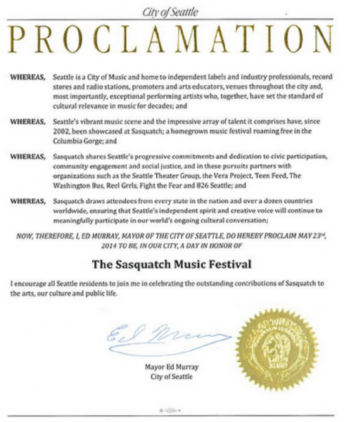 Seattle mayor declares May 23 as 'Sasquatch Day' in honor of music festival