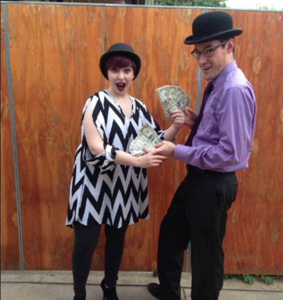 """Maggie Stillman and Brandon Palmer with Ripple Effect Theatre Company's """"Waiting for...got dough?"""" contest"""