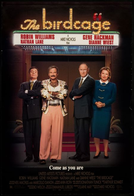 """The 1996 film """"The Birdcage"""" was directed by Mike Nichols and features an all-star cast including Williams, Nathan Lane, Gene Hackman and Di"""