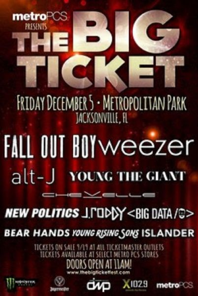 Fall Out Boy, Weezer to headline The Big Ticket festival in 2014