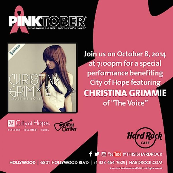 Christina Grimmie to perform City of Hope benefit at Hard Rock Cafe Hollywood