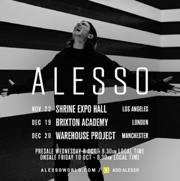 Alesso announces international tour dates in major cities