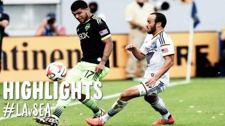 LA Galaxy win first leg against Seattle Sounders