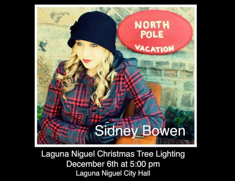 Sidney Bowen sings live at the Laguna Niguel City Hall Christmas tree lighting