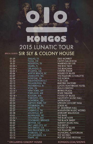 Kongos announce details on their 2015 'Lunatic' headlining tour