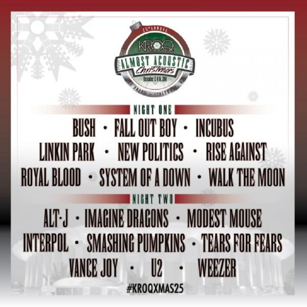 KROQ announces both nights of 'Almost Acoustic Christmas' at the Forum