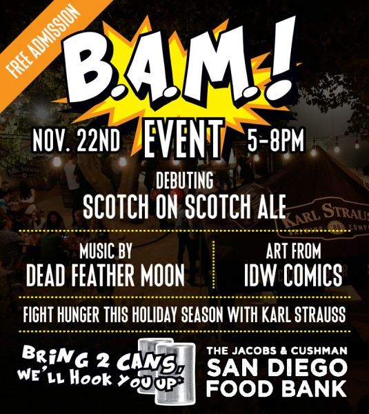 Karl Strauss free Beer, Art and Music even benefits San Diego Food Bank, Nov. 22