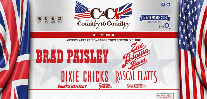 Brad Paisley, Dierks Bentley to headline the 2014 Country to Country music fest