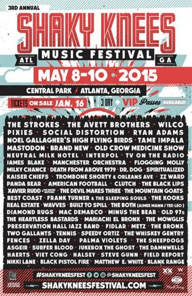 The Strokes, The Avett Brothers, and Wilco to headline Shaky Knees Festival