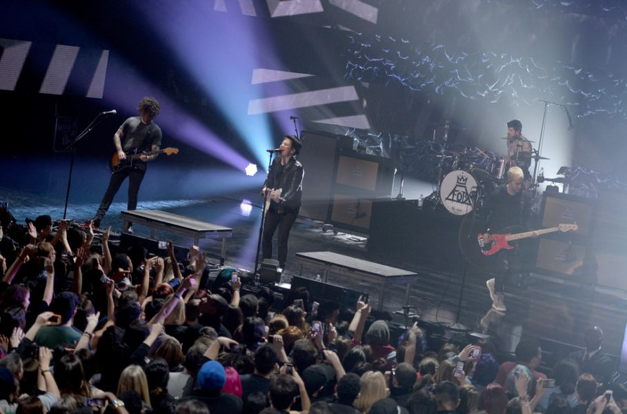 Fall Out Boy and DJ Shaq perform at the American Express All-Star Live bash