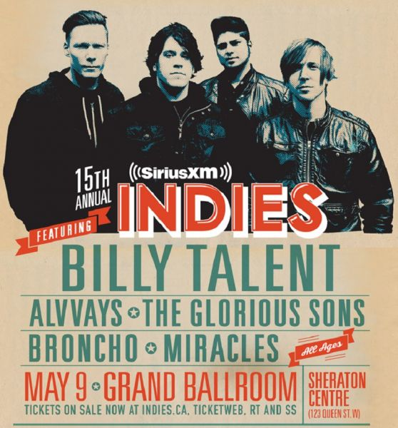 Billy Talent will headline the 2015 SiriusXM Indies May 9